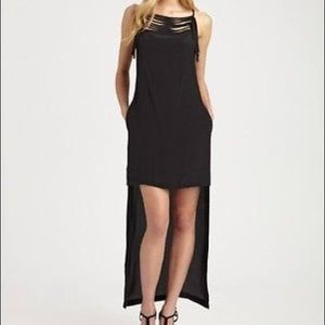 Bcbg black silk tamsyn high low dress XS pockets